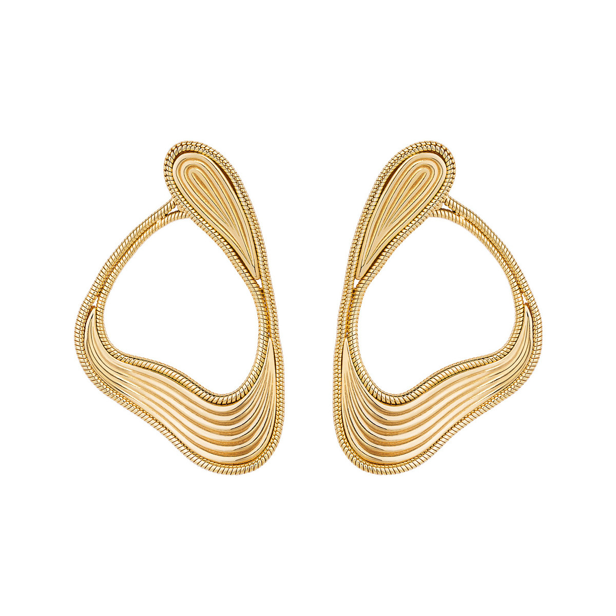 "18k Yellow Gold ""Stream Lines"" Loop Earrings"