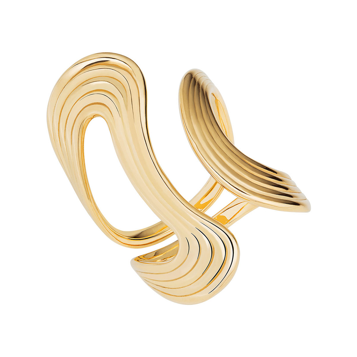 "18k Yellow Gold ""Stream Lines"" Open Ring"