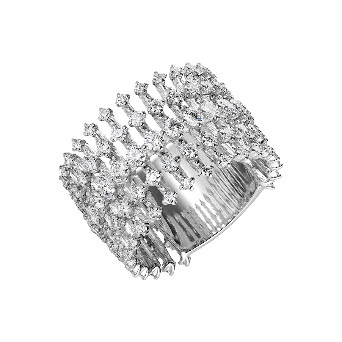 "18k White Gold & Diamond ""Disco"" Band Ring"