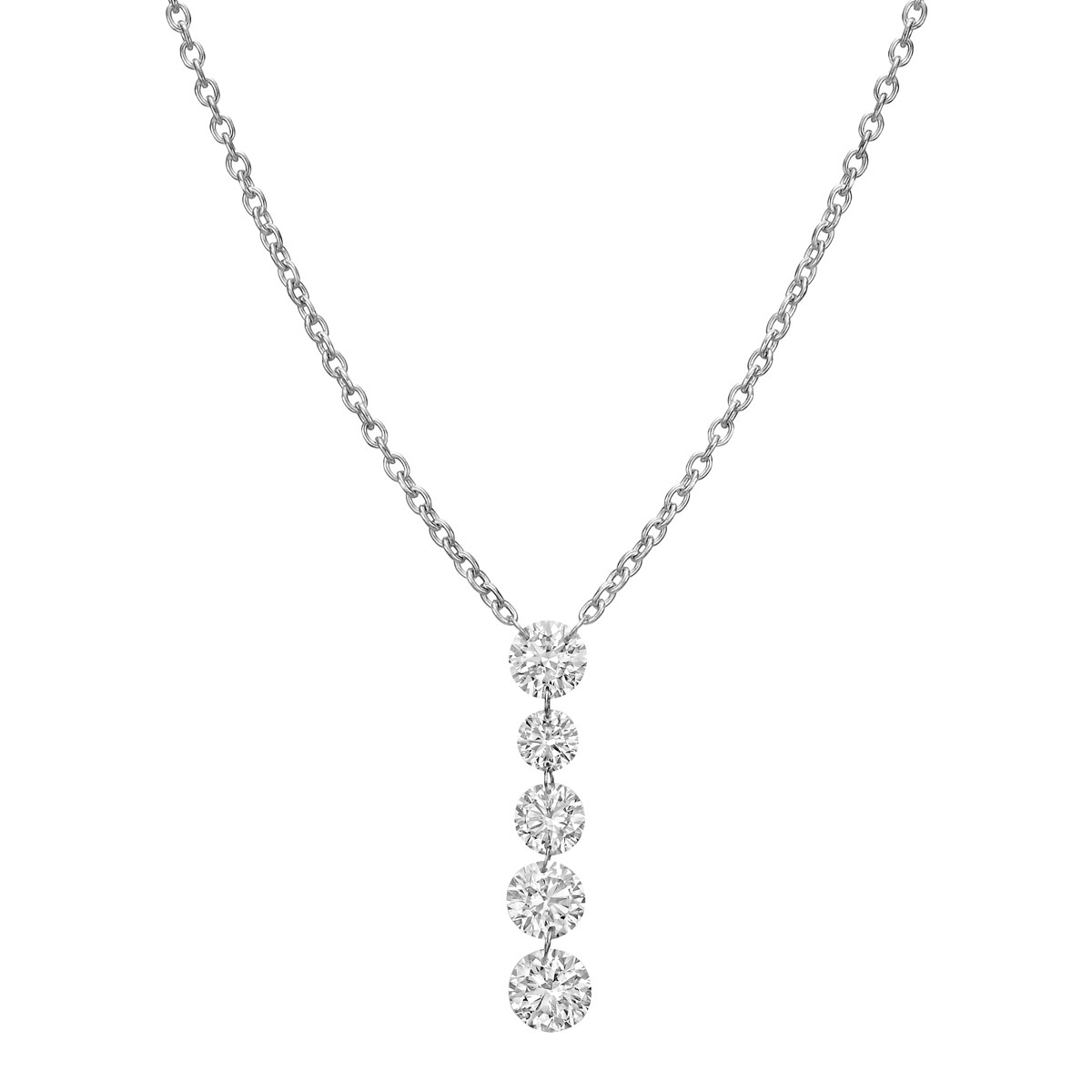 Five Diamond Chain Drop Pendant