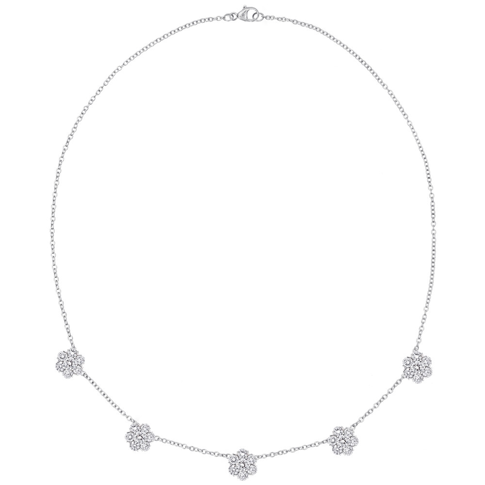 Diamond Cluster Station Necklace