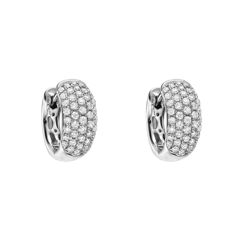 5-Row Pavé Diamond Huggie Earrings (~0.80 ct tw)