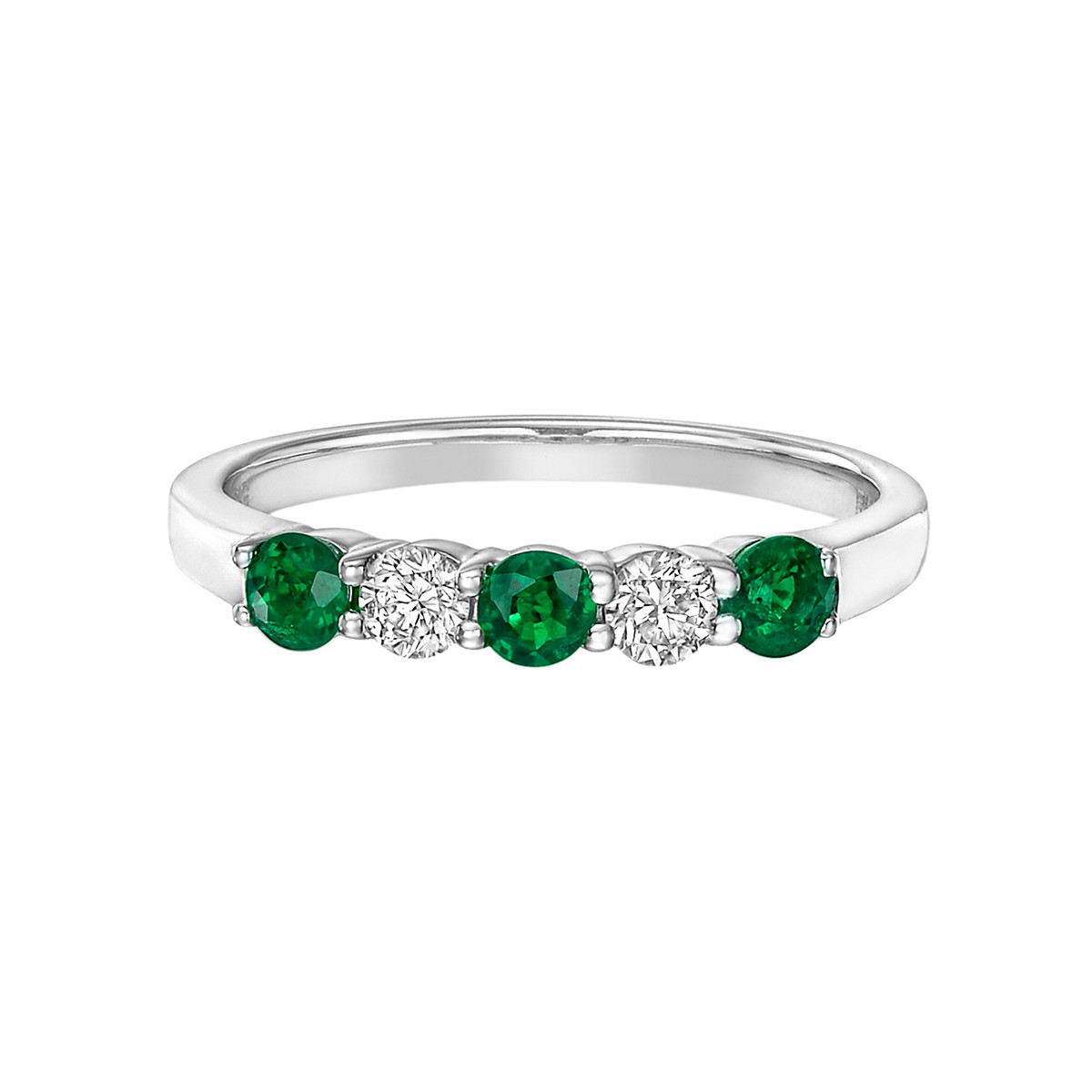 Five-Stone Emerald & Diamond Band Ring