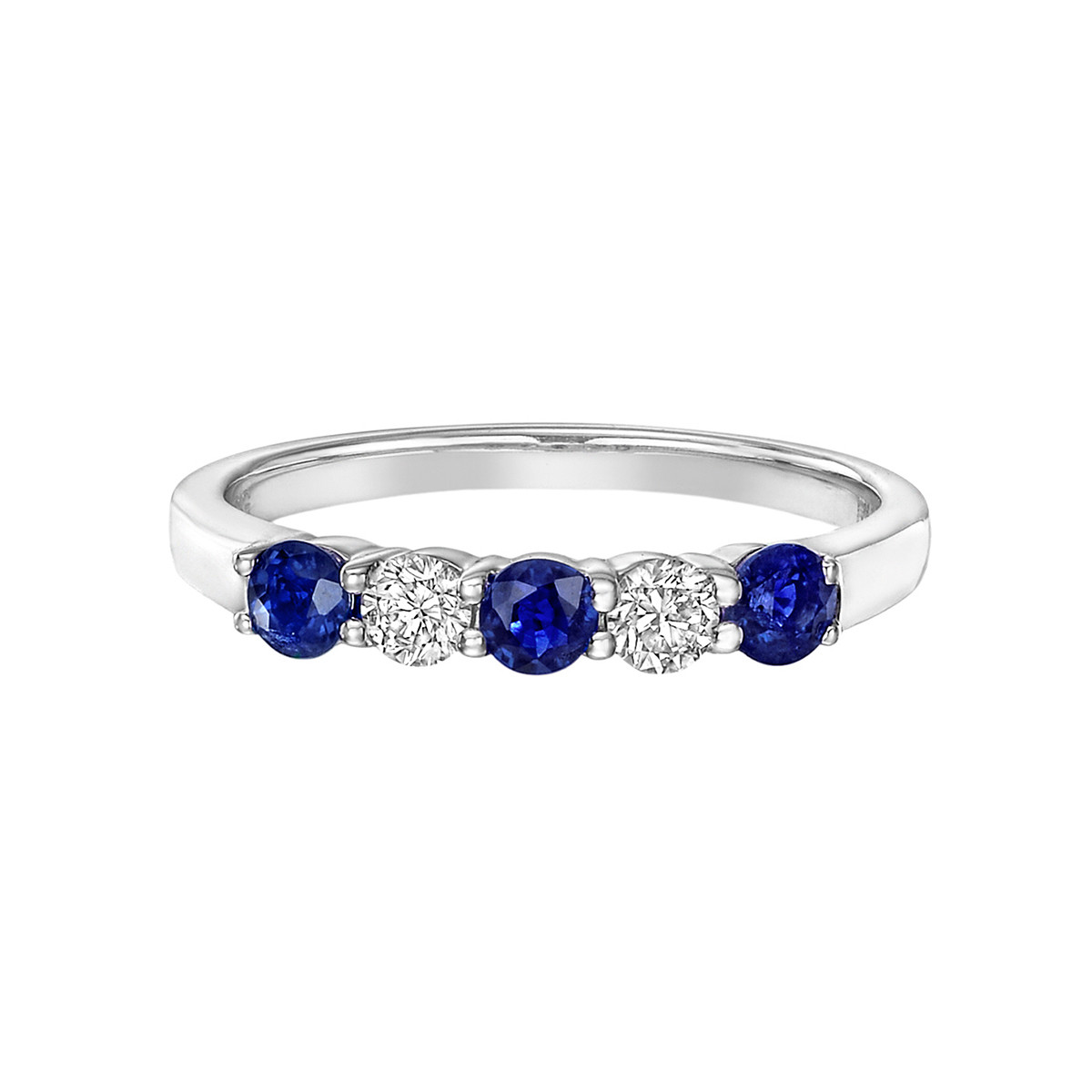 Five-Stone Sapphire & Diamond Band Ring
