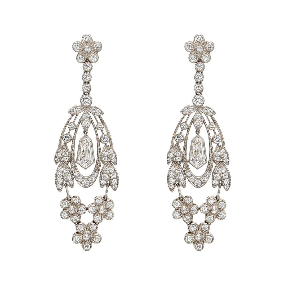 Diamond Flower & Leaf Drop Earrings