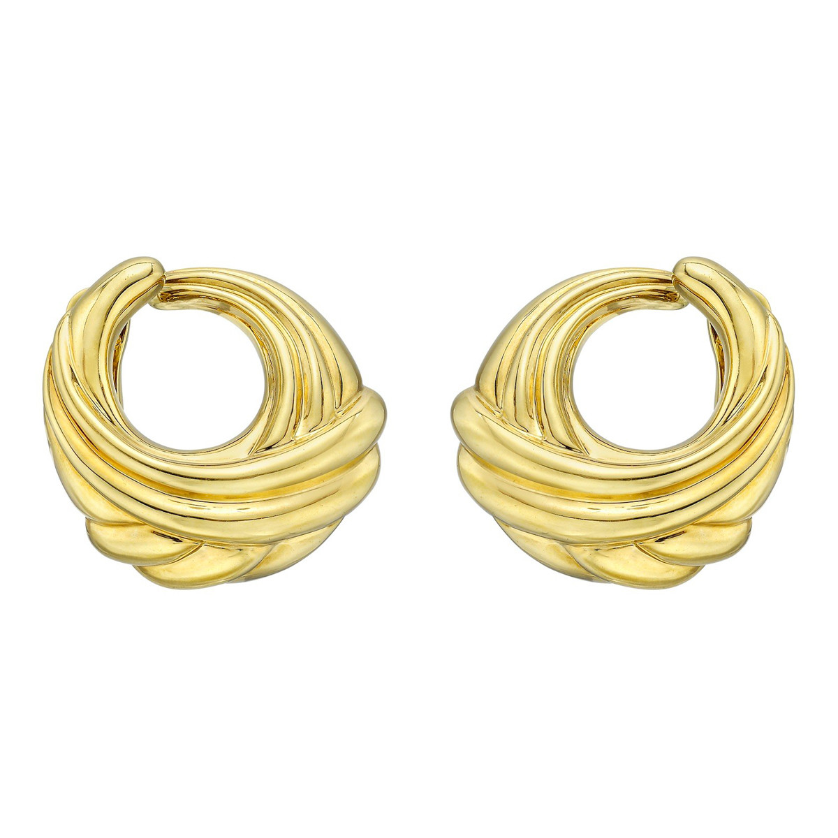 18k Yellow Gold Fluted Crossover Hoop Earrings