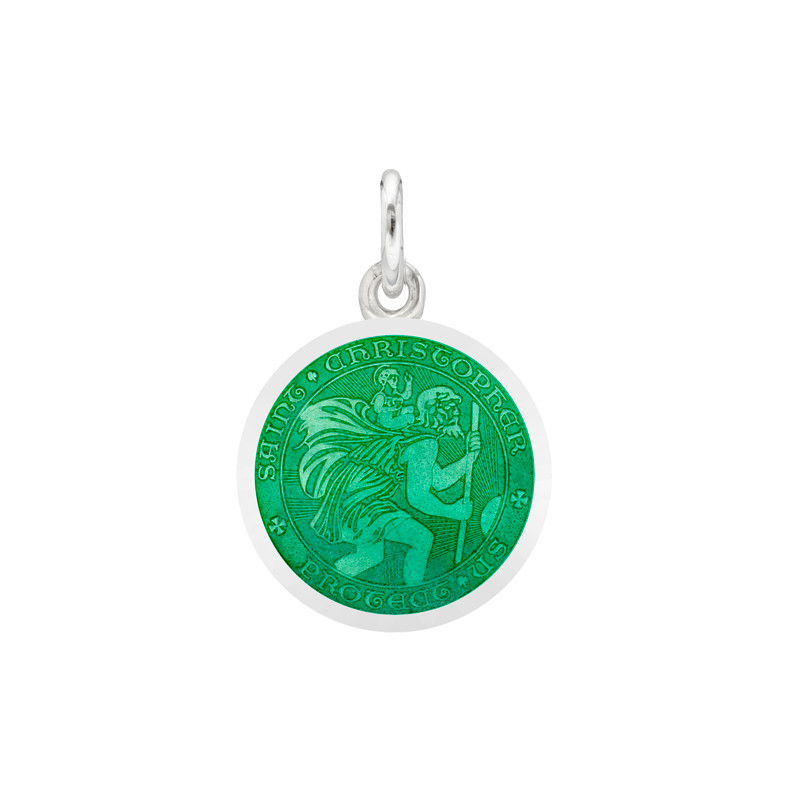 XS Silver St. Christopher Medal with Jade Enamel