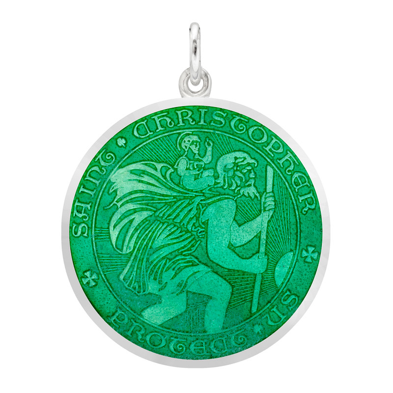 Large Silver St. Christopher Medal with Jade Enamel