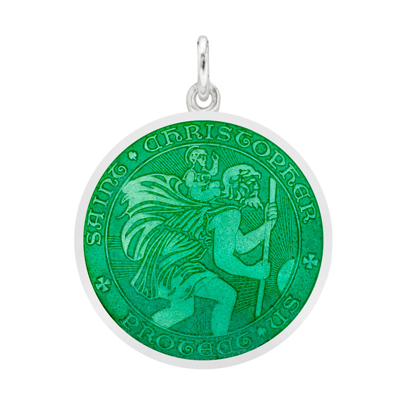 Medium Silver St. Christopher Medal with Jade Enamel