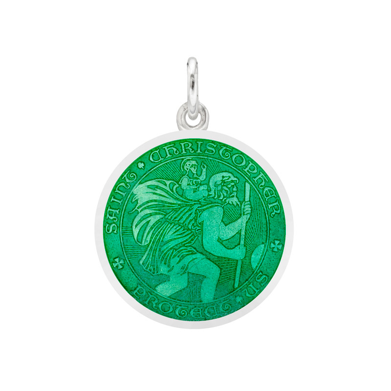 Small Silver St. Christopher Medal with Jade Enamel