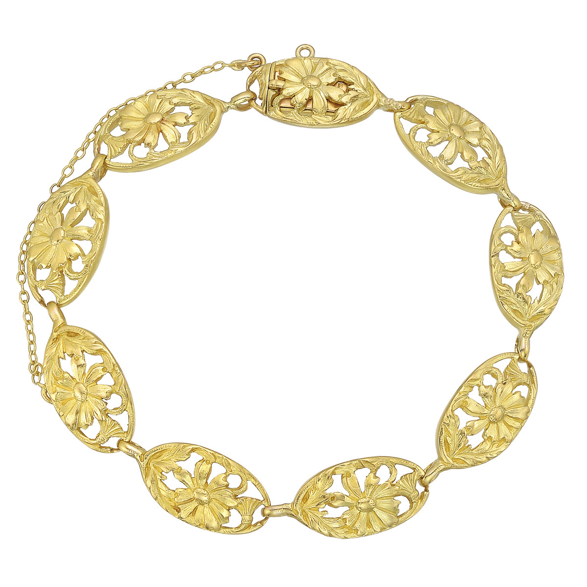 French 18k Yellow Gold Link Bracelet