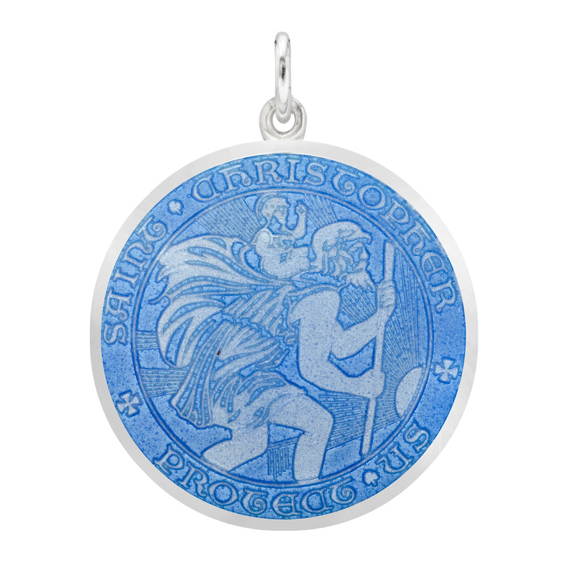 Large Silver St. Christopher Medal with French Blue Enamel