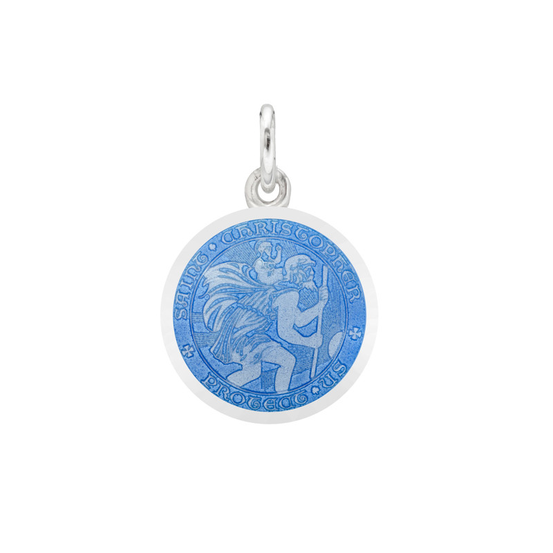 XS Silver St. Christopher Medal with French Blue Enamel