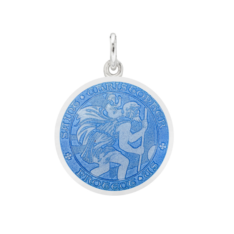 Small Silver St. Christopher Medal with French Blue Enamel