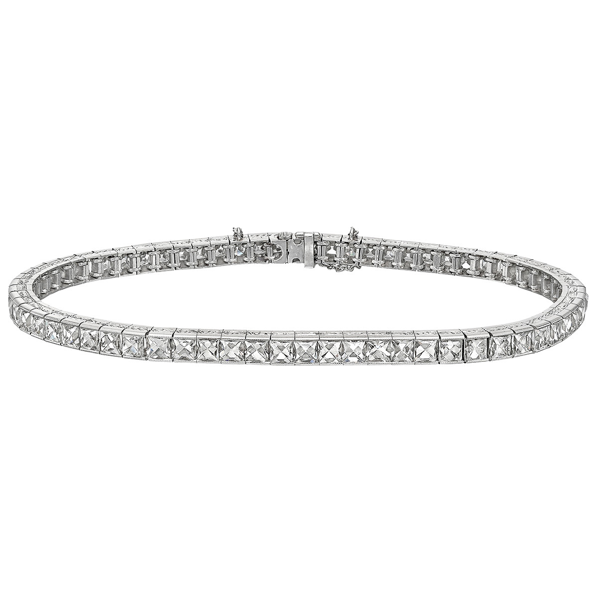 French-Cut Diamond Line Bracelet (~8.8 ct tw)