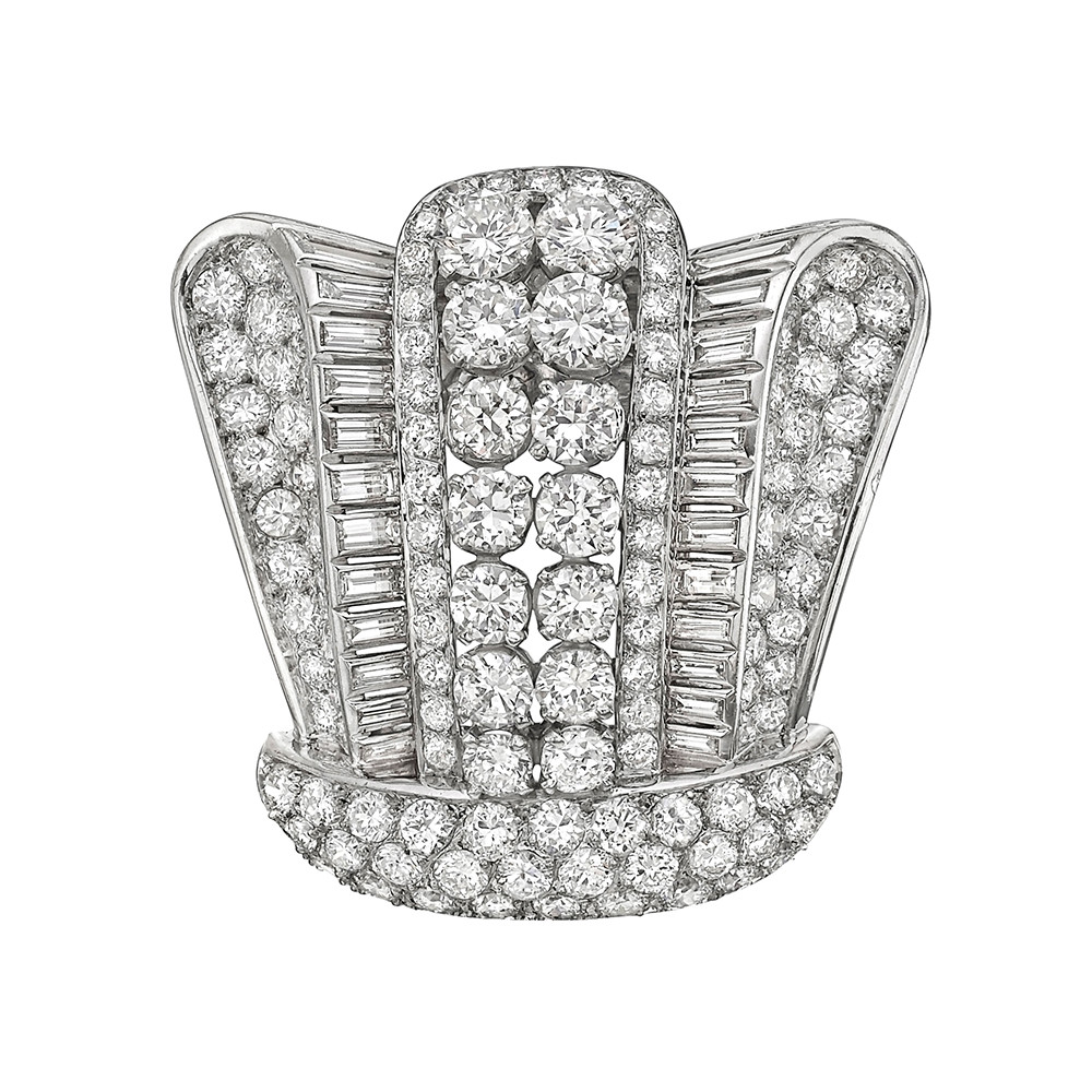 French Diamond Crown Brooch (~14.77 ct tw)