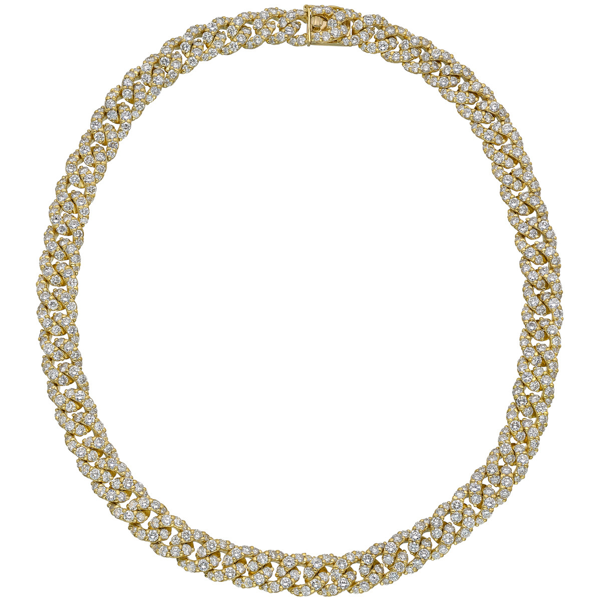 French 18k Yellow Gold & Diamond Curb-Link Necklace