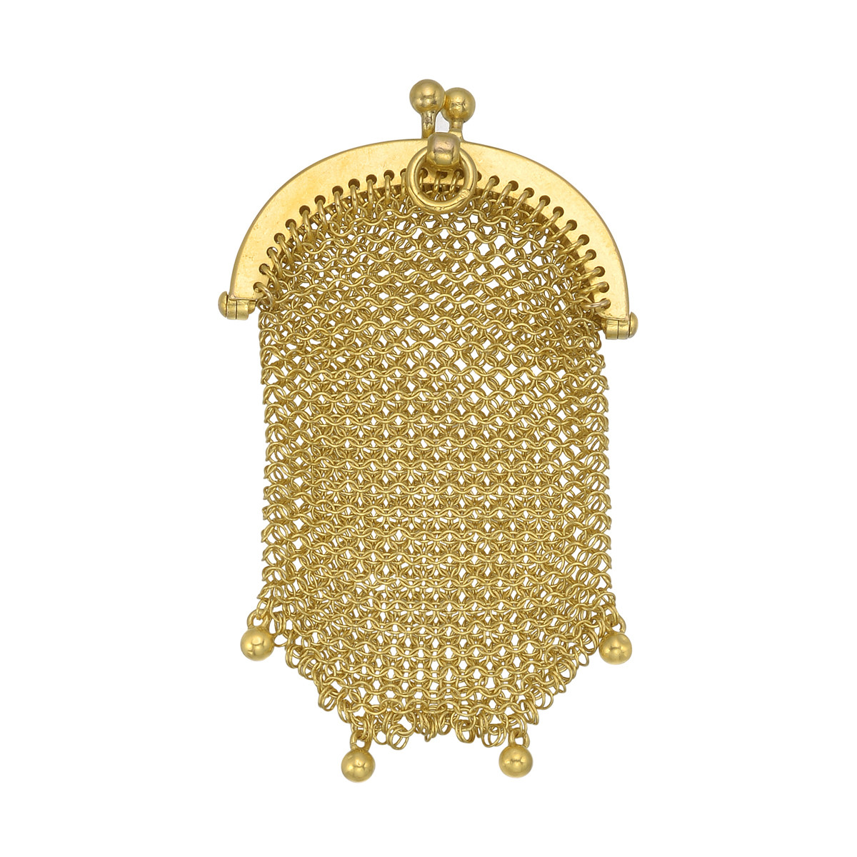 French 18k Yellow Gold Mesh Purse Pendant
