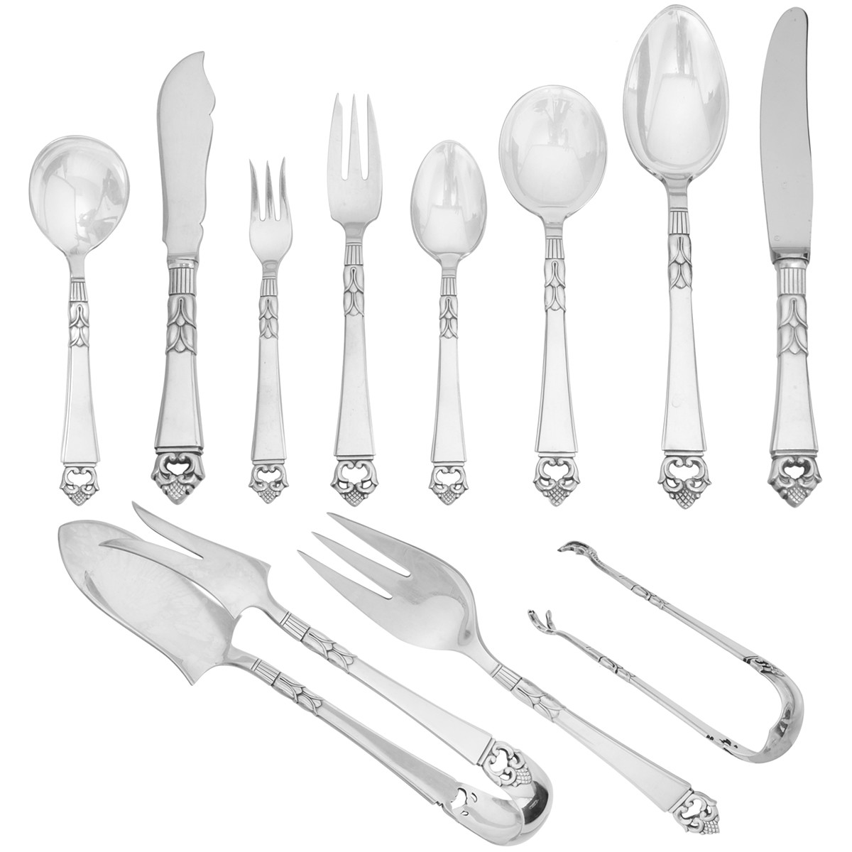 "Frigast Silver ""Danish Crown"" Flatware Set"