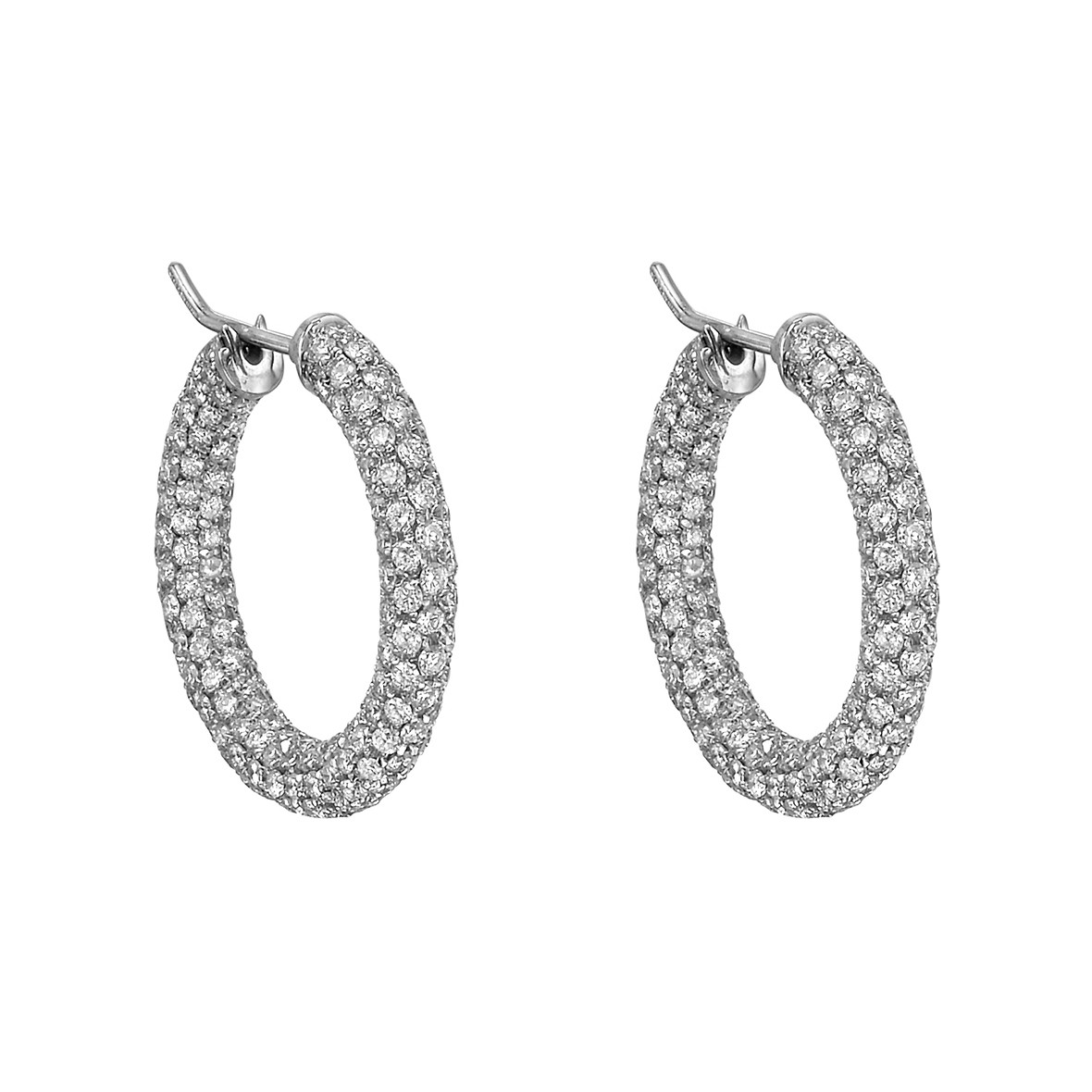 Pavé Diamond Hoop Earrings (~5.3 ct tw)
