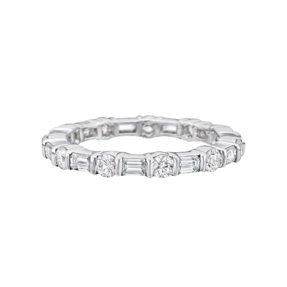 Round & Emerald-Cut Diamond Eternity Band (1.46ct tw)