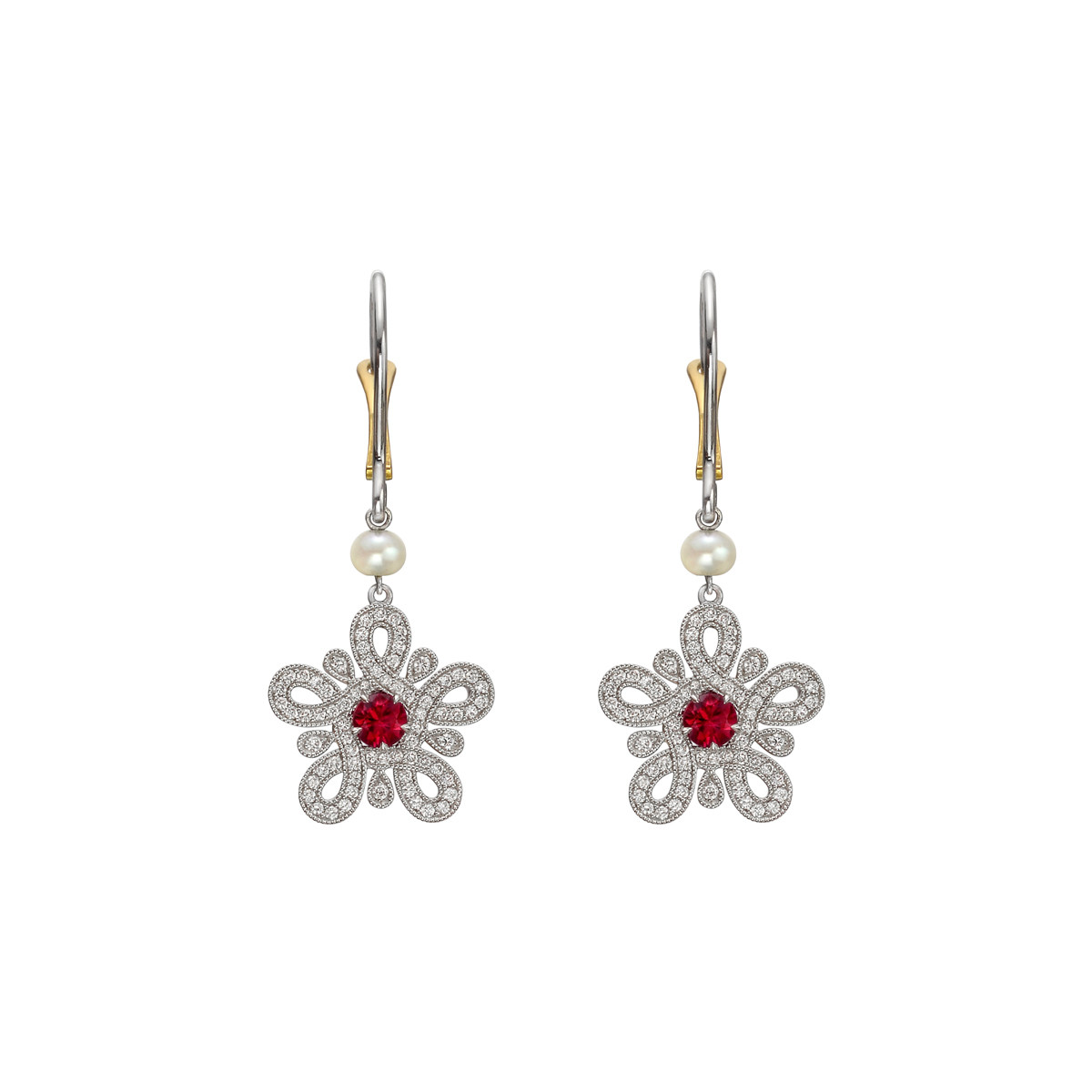 Ruby & Diamond Geometric Flower Drop Earrings