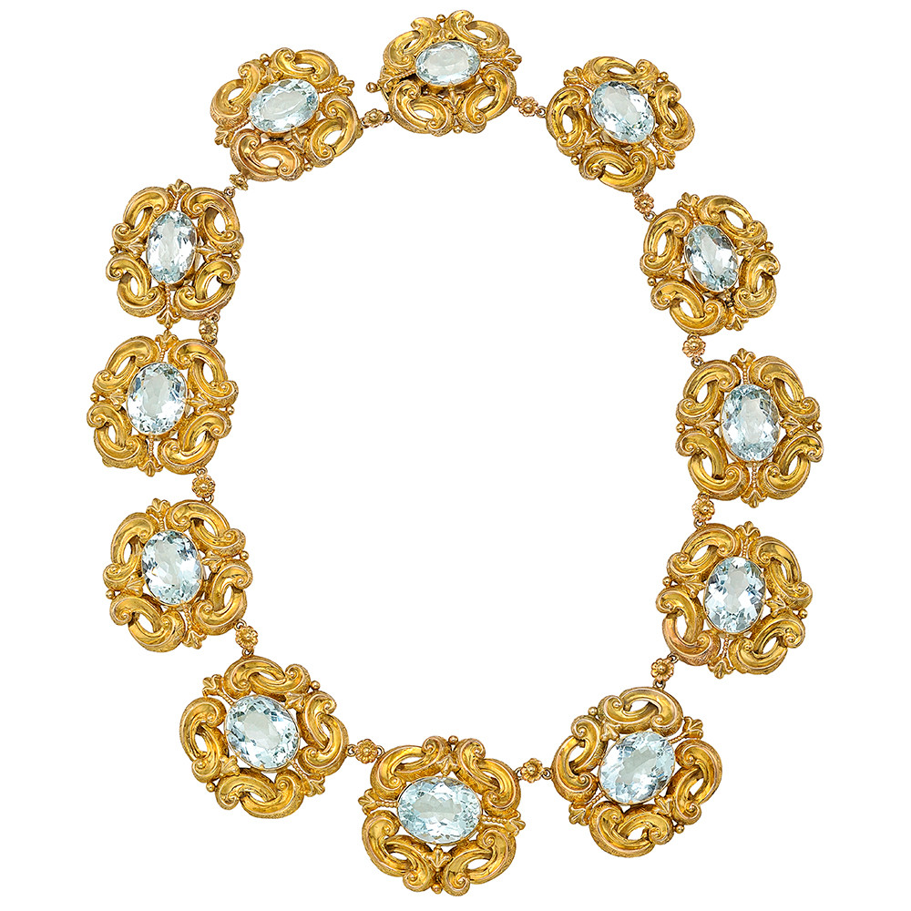 Georgian Gold & Aquamarine Link Necklace