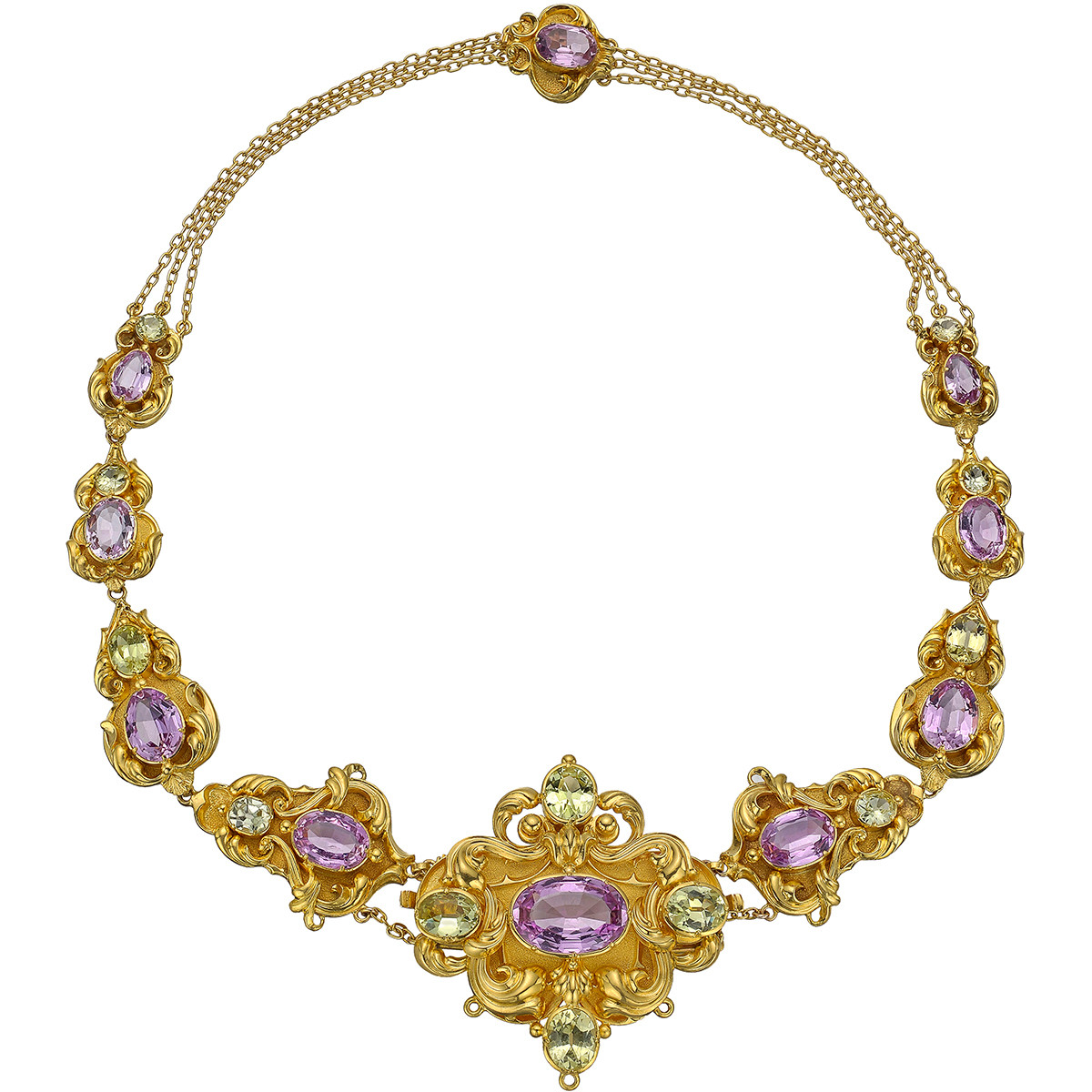 Georgian Pink Topaz & Chrysoberyl Link Necklace