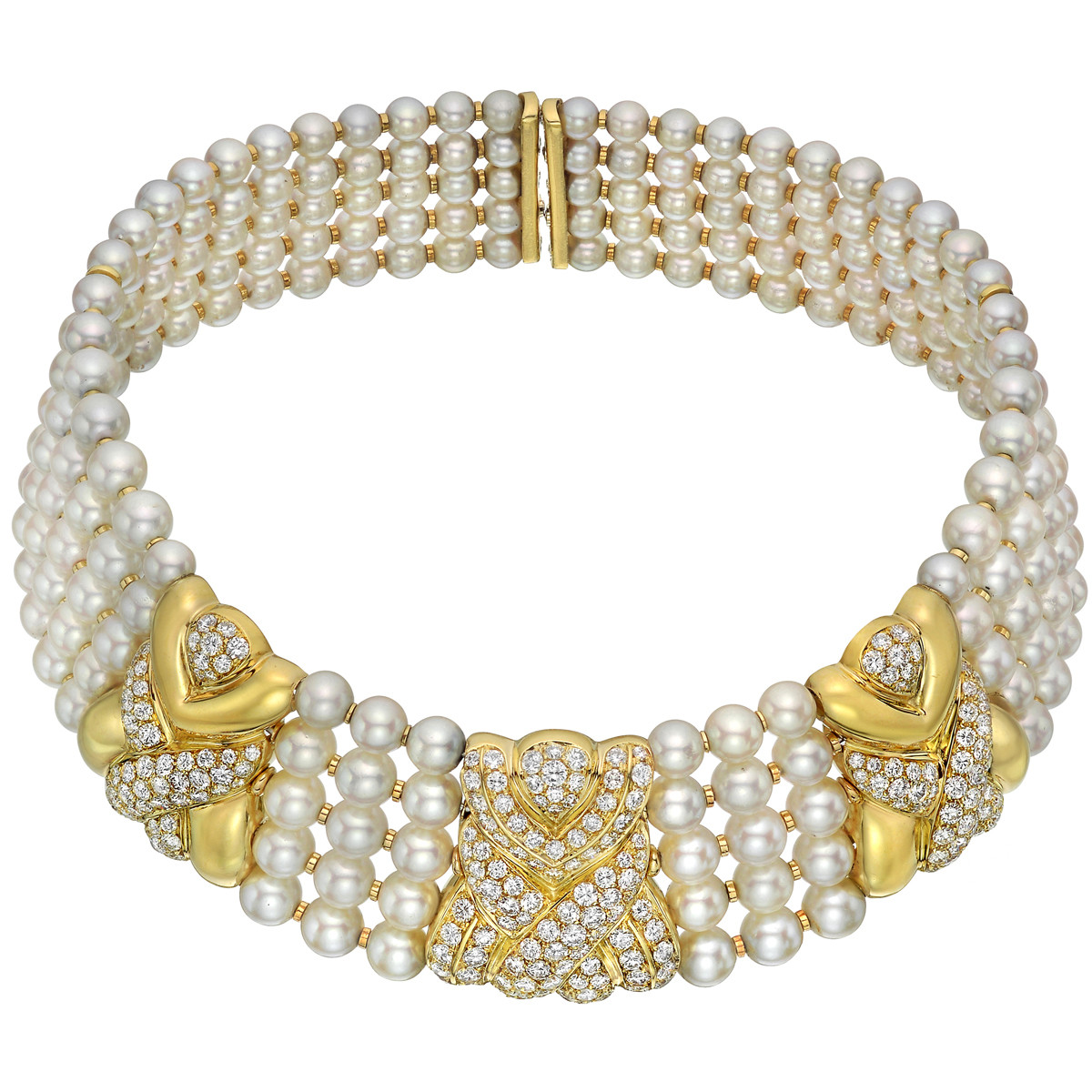 18k Gold, Pearl & Diamond Choker Necklace