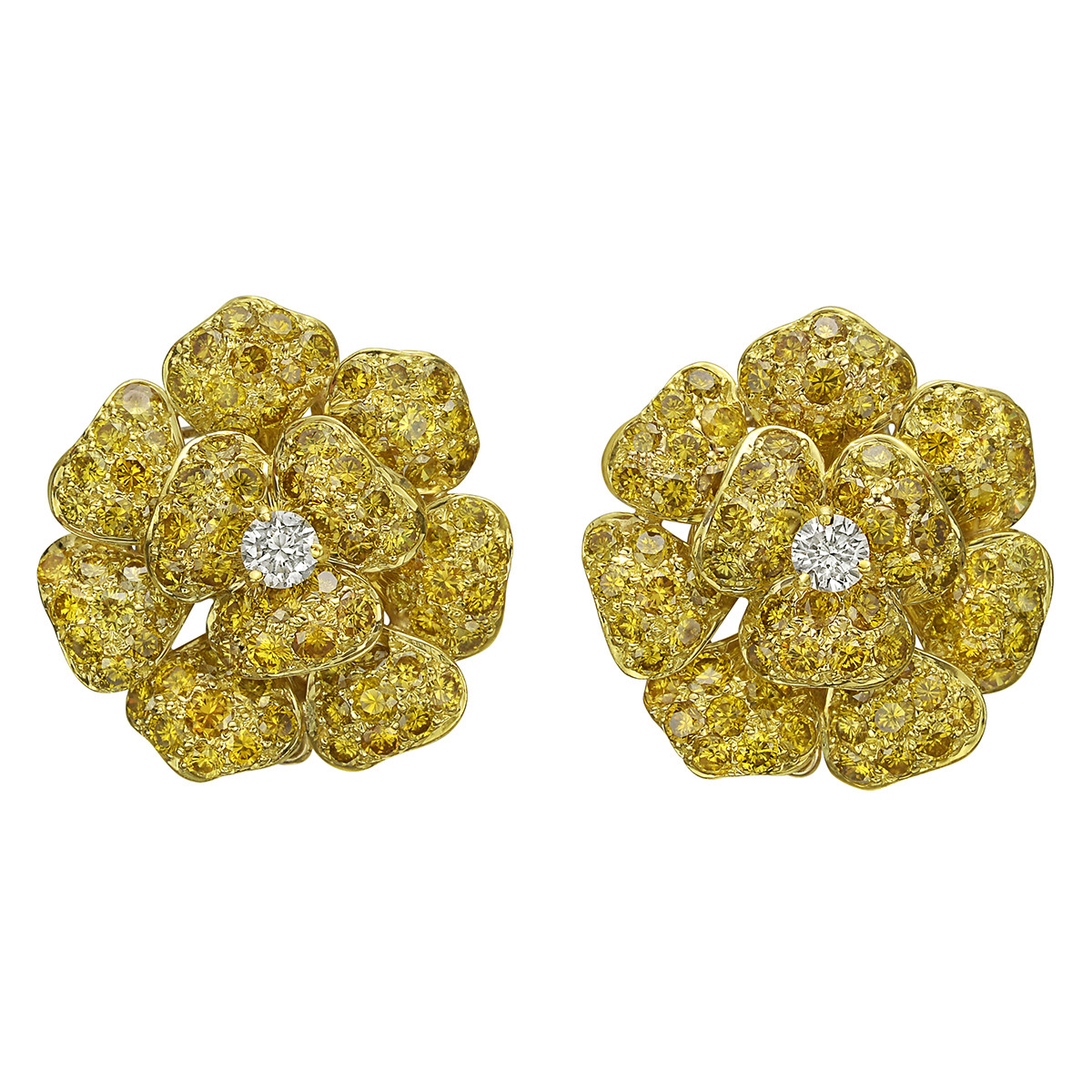 Fancy Vivid Yellow & Colorless Diamond Flower Earclips