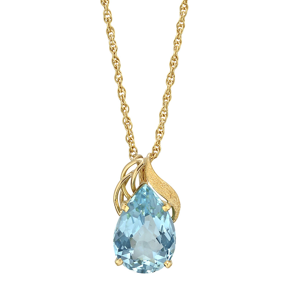 18k Yellow Gold & Aquamarine Pendant Necklace