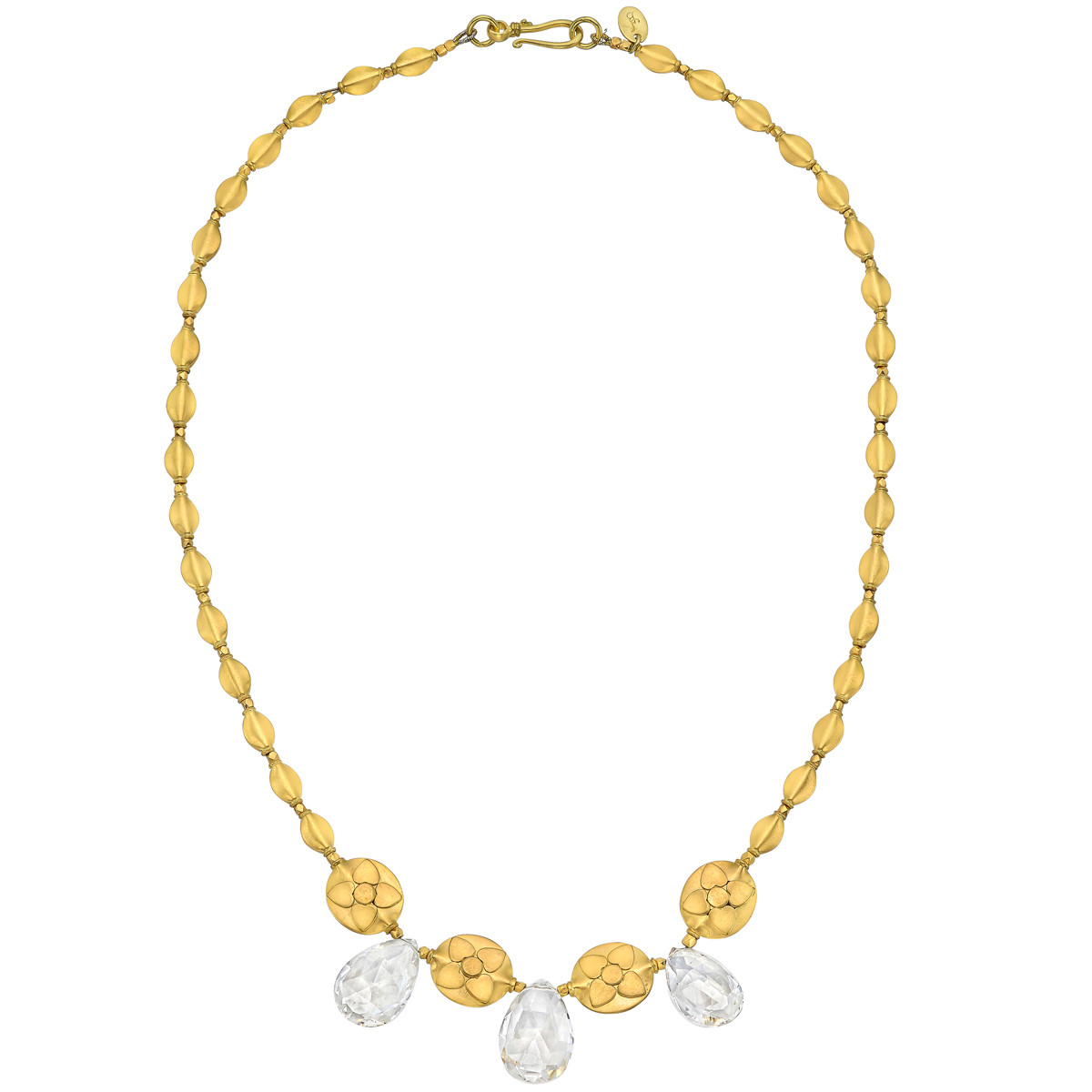 18k Yellow Gold Bead & Rock Crystal Fringe Necklace