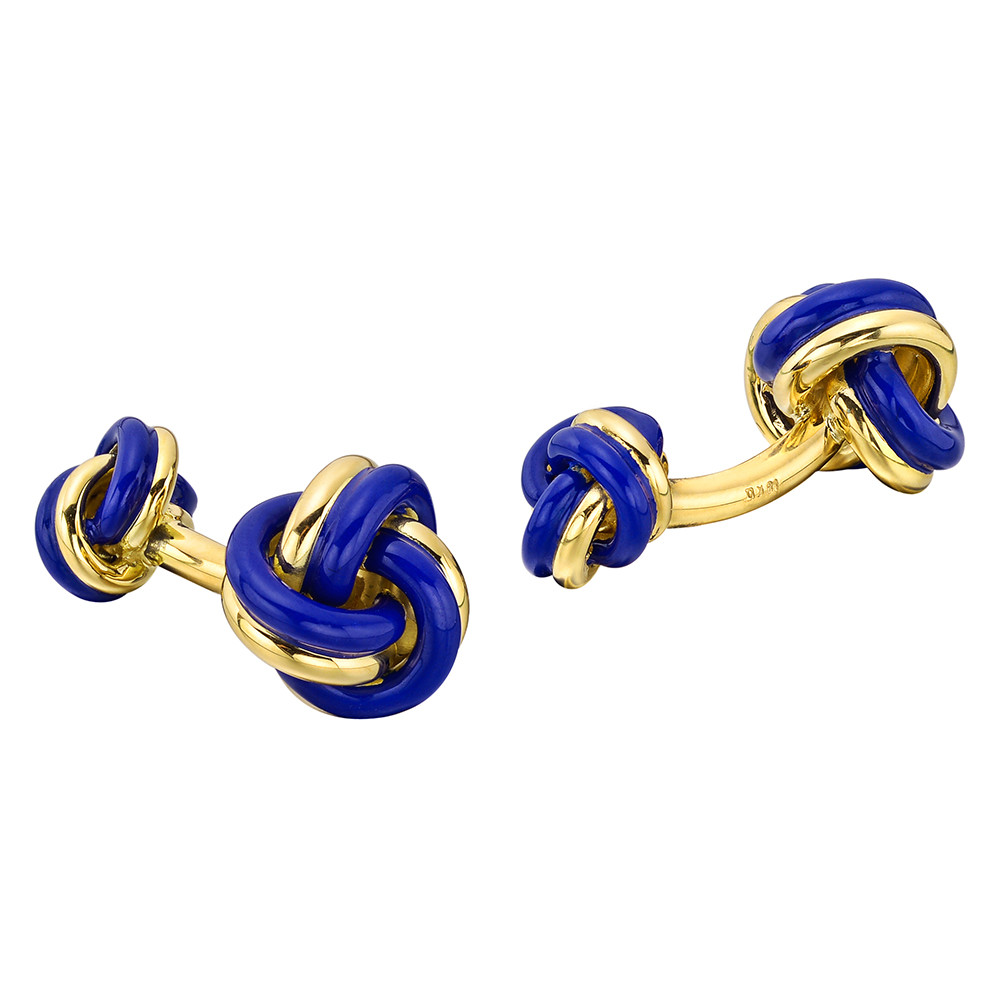 18k Gold & Blue Enamel Knot Cufflinks