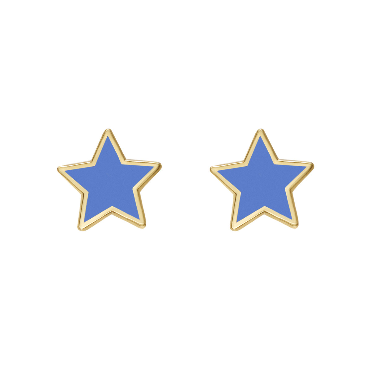 14k Gold Light Blue Enamel Star Earstuds