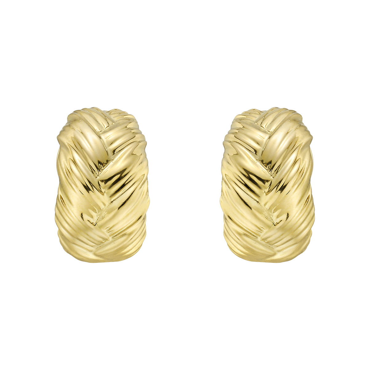 18k Yellow Gold Braided Half-Hoop Earrings