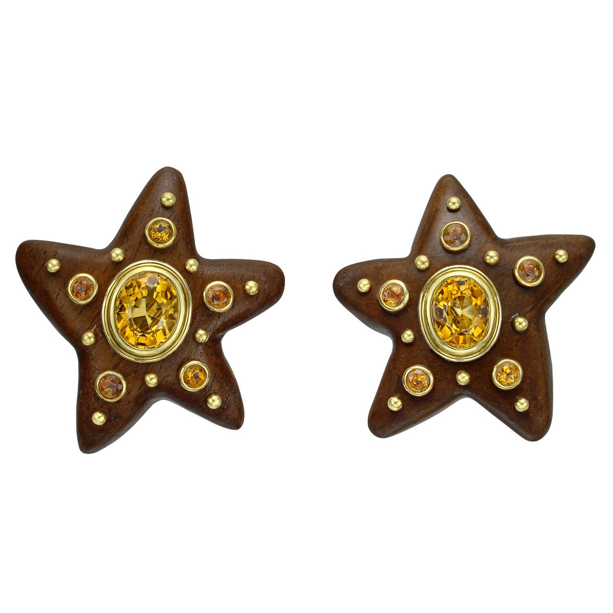 18k Gold, Wood & Citrine Star Earclips