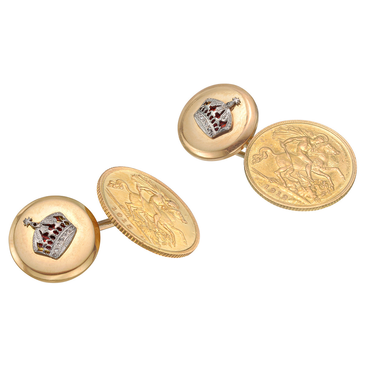 Gold Sovereign Coin & Crown Links