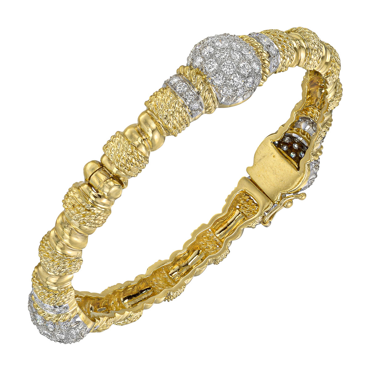 18k Yellow Gold & Diamond Bangle Bracelet