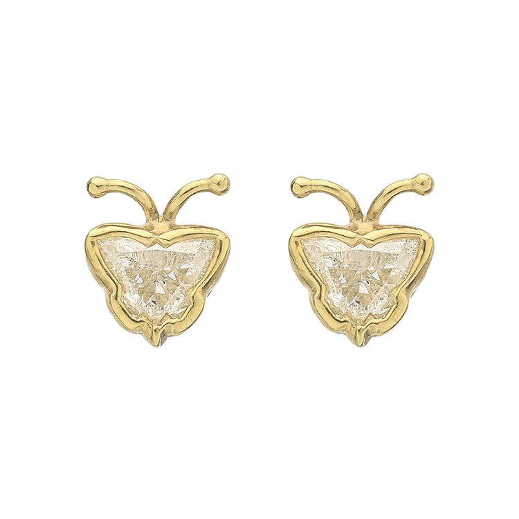 18k Yellow Gold & Diamond Butterfly Stud Earrings