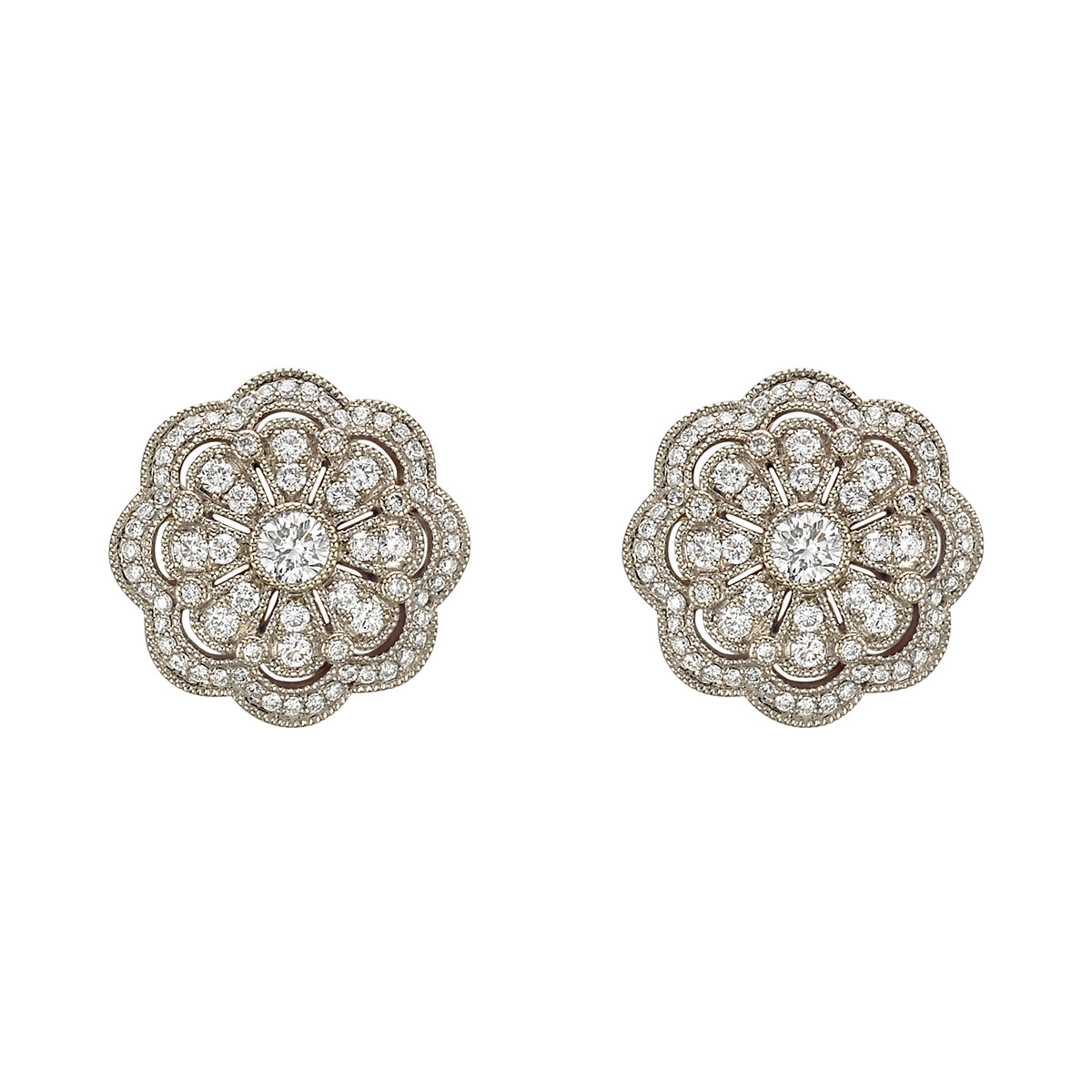 18k Yellow Gold & Diamond Cluster Flower Stud Earrings