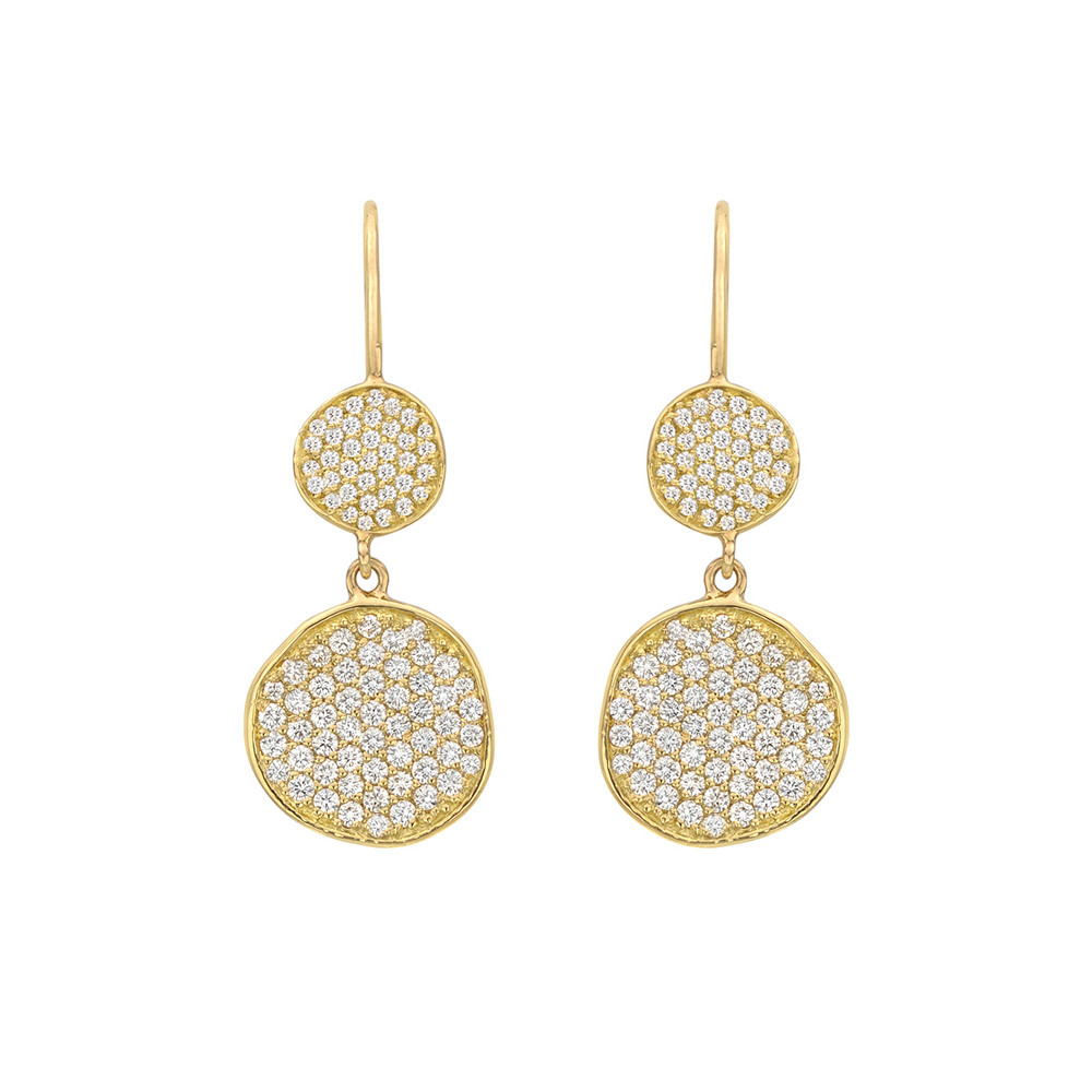 18k Yellow Gold Diamond Disc Drop Earrings