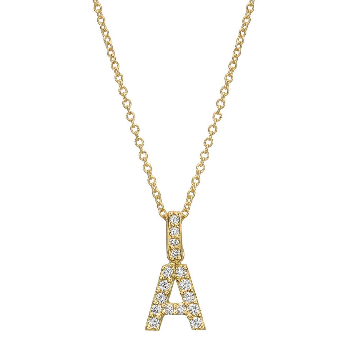 18k Yellow Gold & Diamond Letter 'A' Pendant