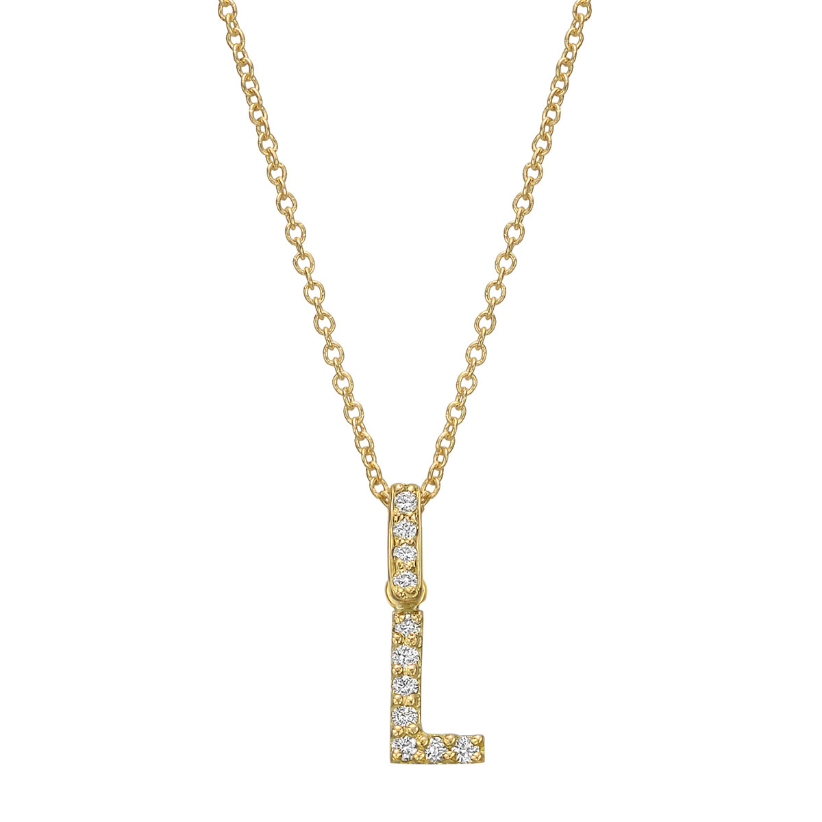 18k Yellow Gold & Diamond Letter 'L' Pendant