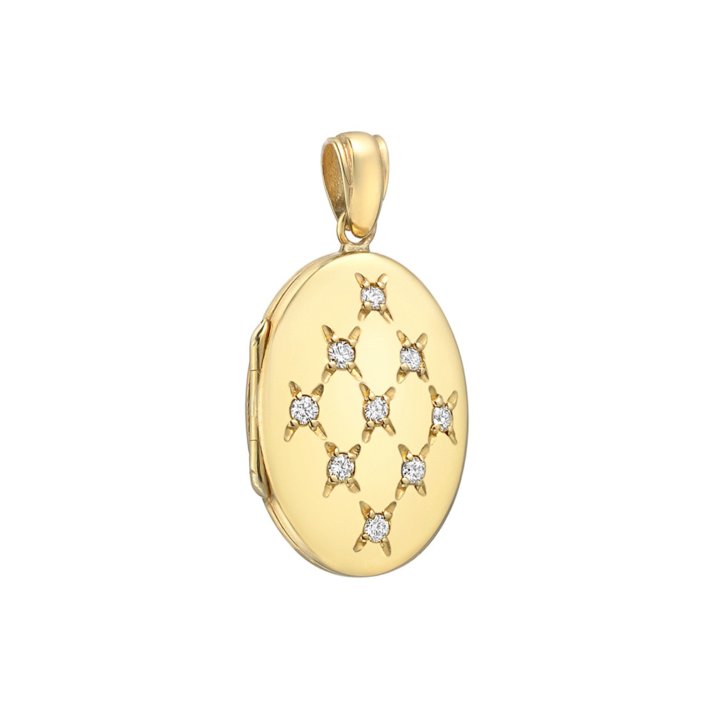 18k Yellow Gold & Diamond Oval Locket Pendant