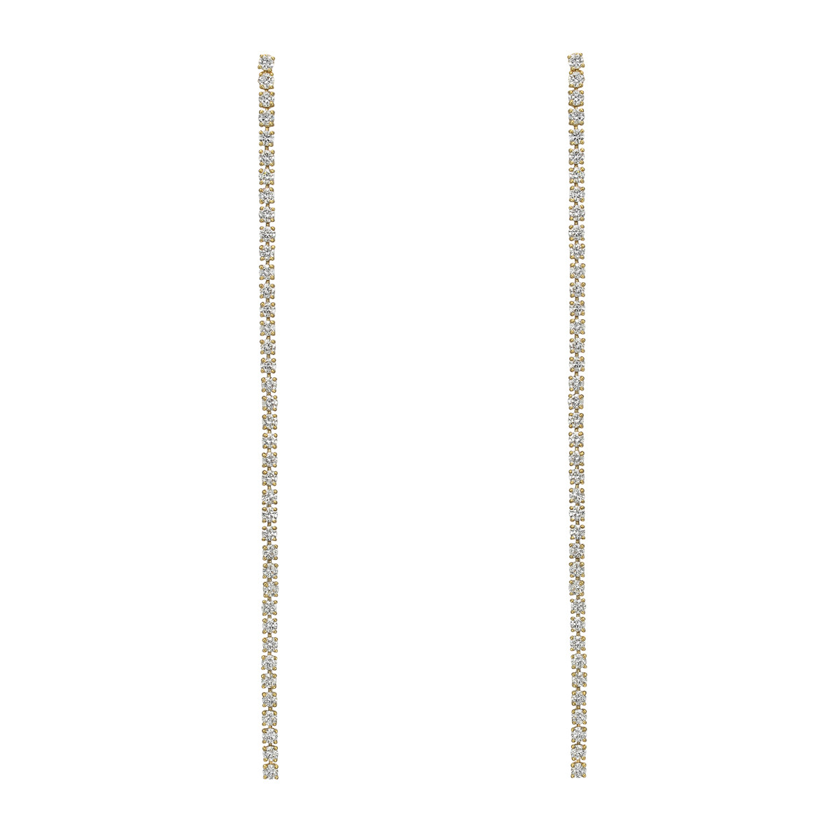 18k Yellow Gold & Diamond Line Drop Earrings