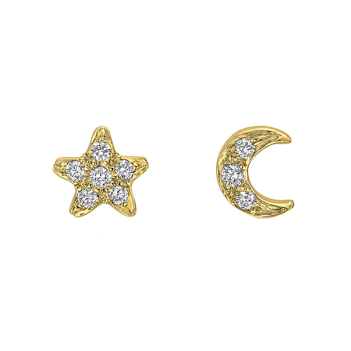 18k Yellow Gold & Diamond Star & Moon Earstuds