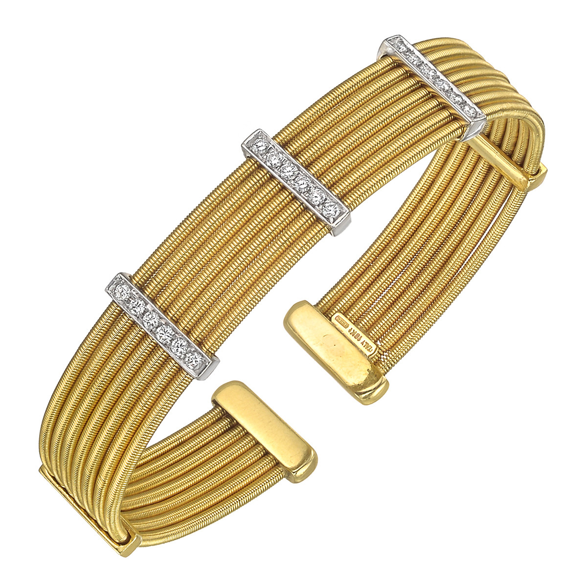 18k Gold & Diamond 7-Wire Cuff