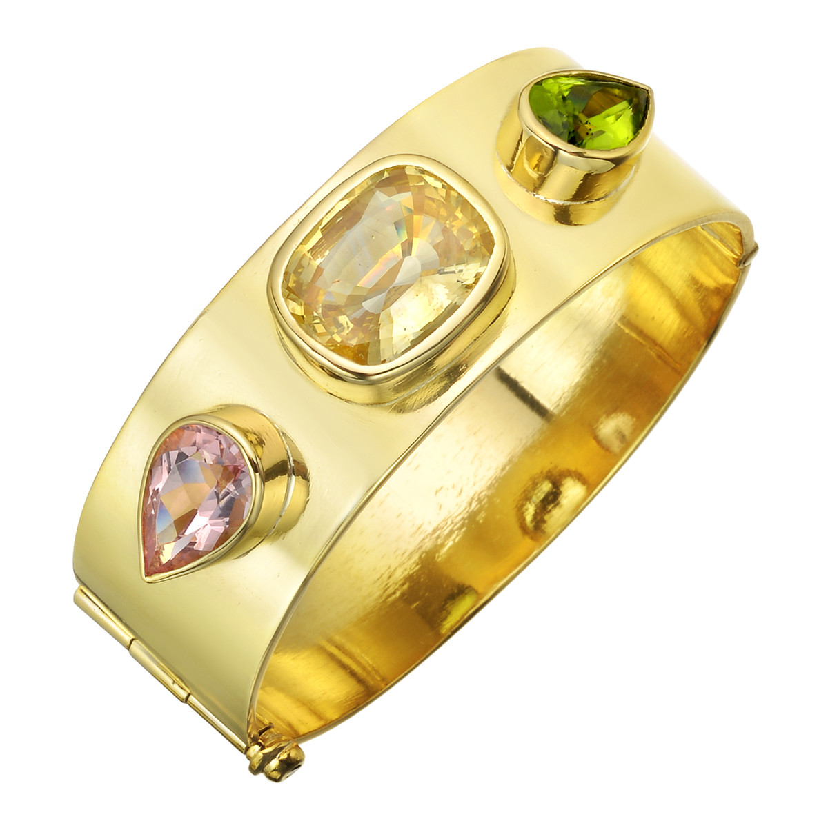 22k Yellow Gold Gem-Set Bangle Bracelet