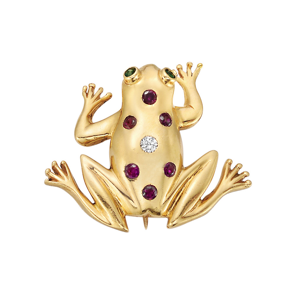 Yellow Gold & Gem-Set Frog Pin