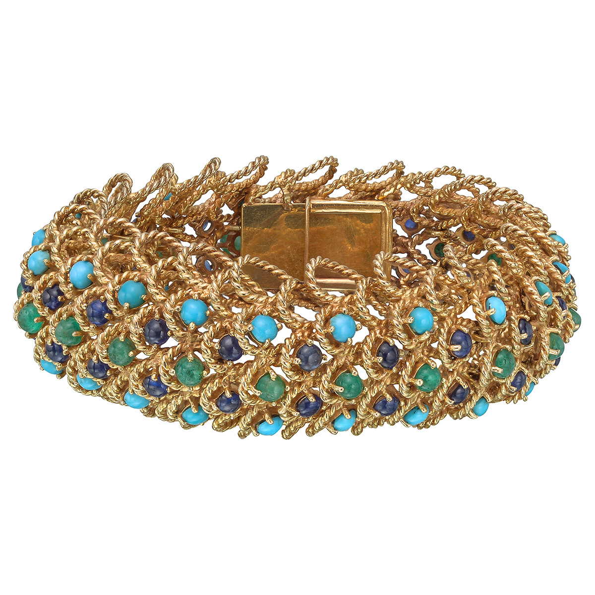 18k Gold & Gem-Set Twistwire Link Bracelet